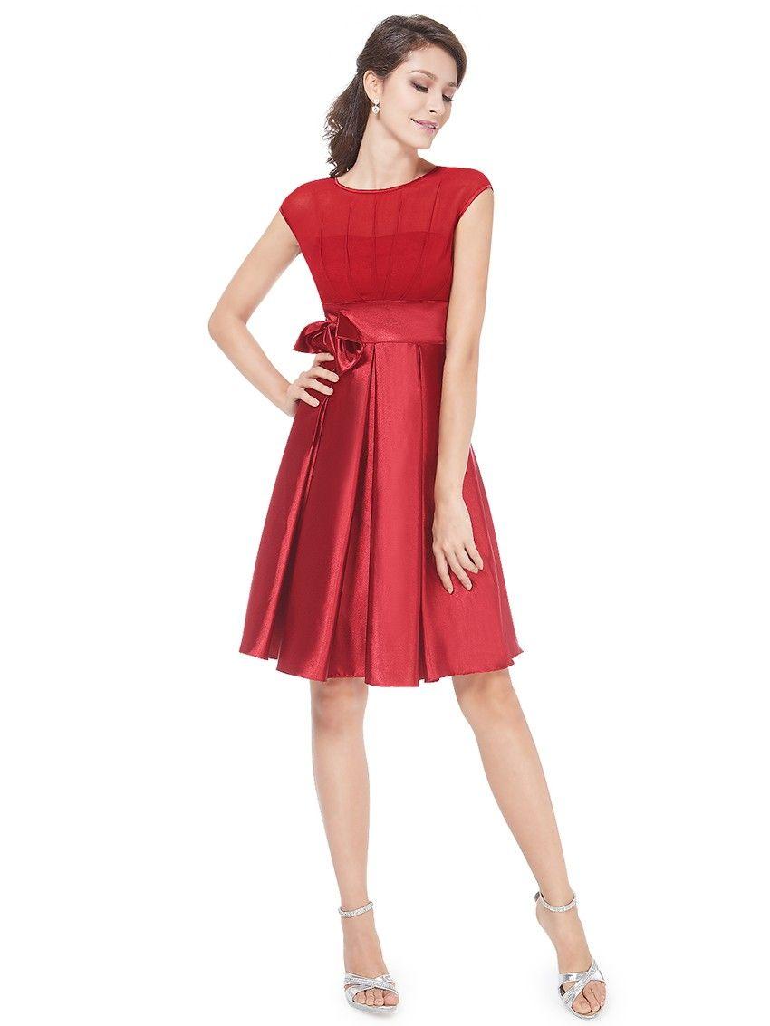 Rotes Rüschen Satin Damen Cocktailkleid Rote Kleider online kaufen
