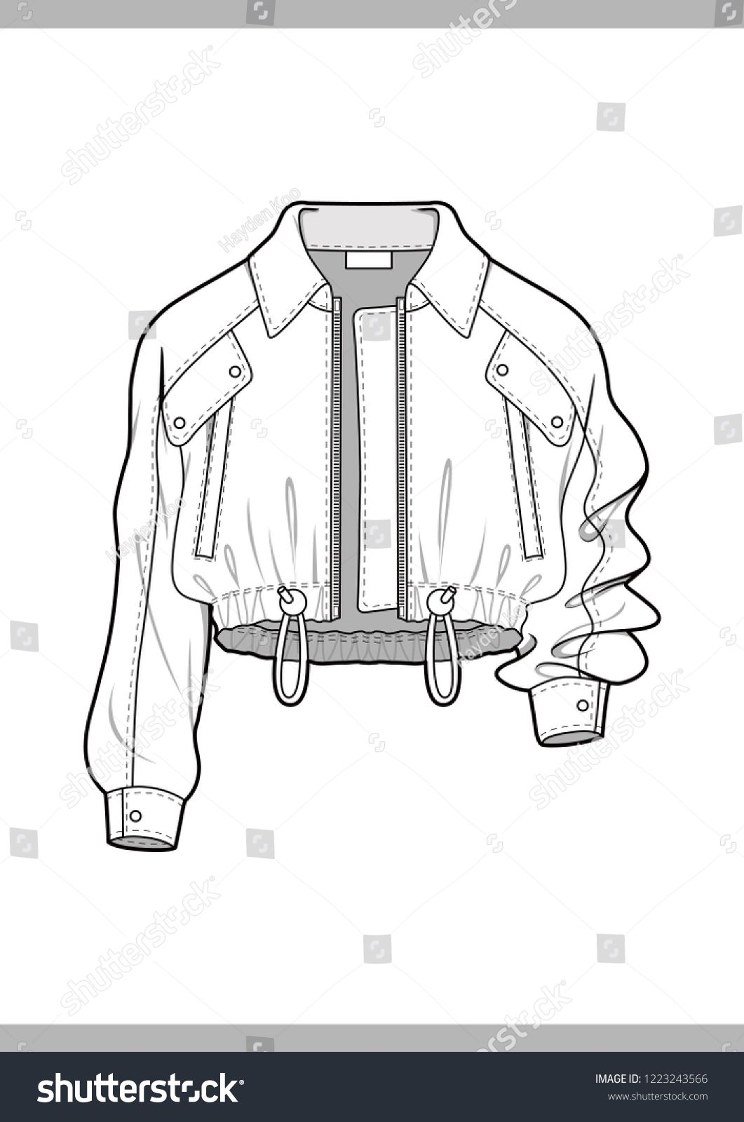 Photo of Outer Fashion Technical Drawings Flat Sketches Stock Vector (Royalty Free) 1223243566
