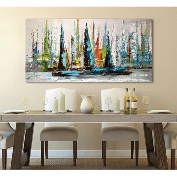 Tableau toile tableau peinture huile toile bateaux paysage fait main art co - Art contemporain pas cher ...