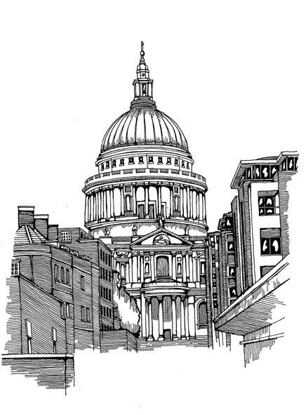 St Pauls Cathedral Sketch London Architectural Print Ink