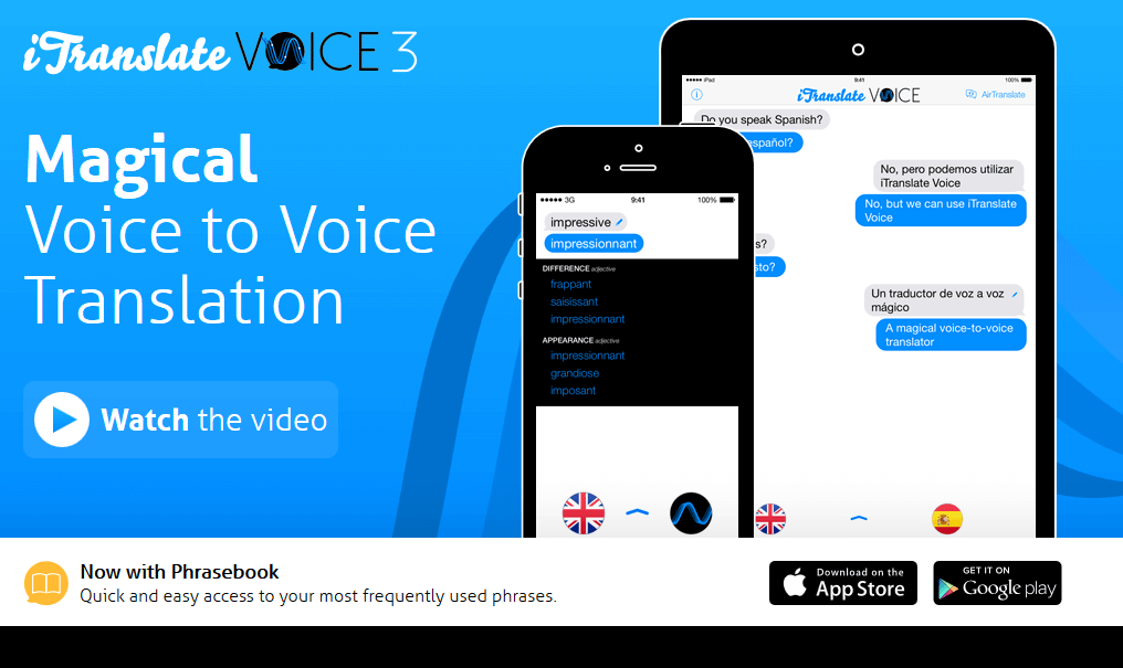 Homepage of iTranslate Voice App, Android apps, Online