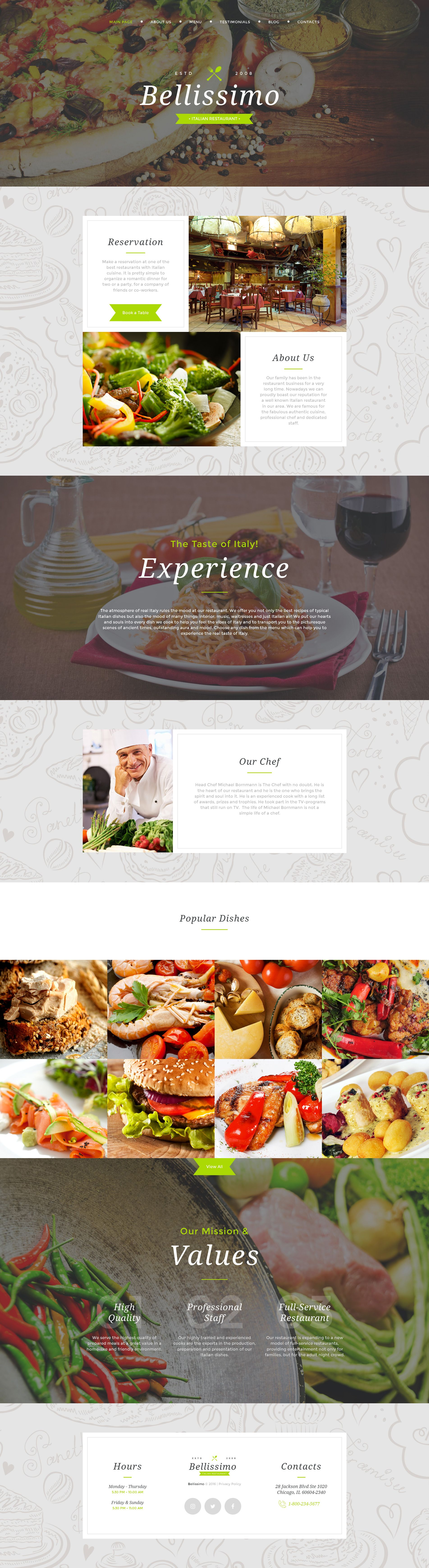 Italian Restaurant Responsive Moto Cms 3 Template New Website