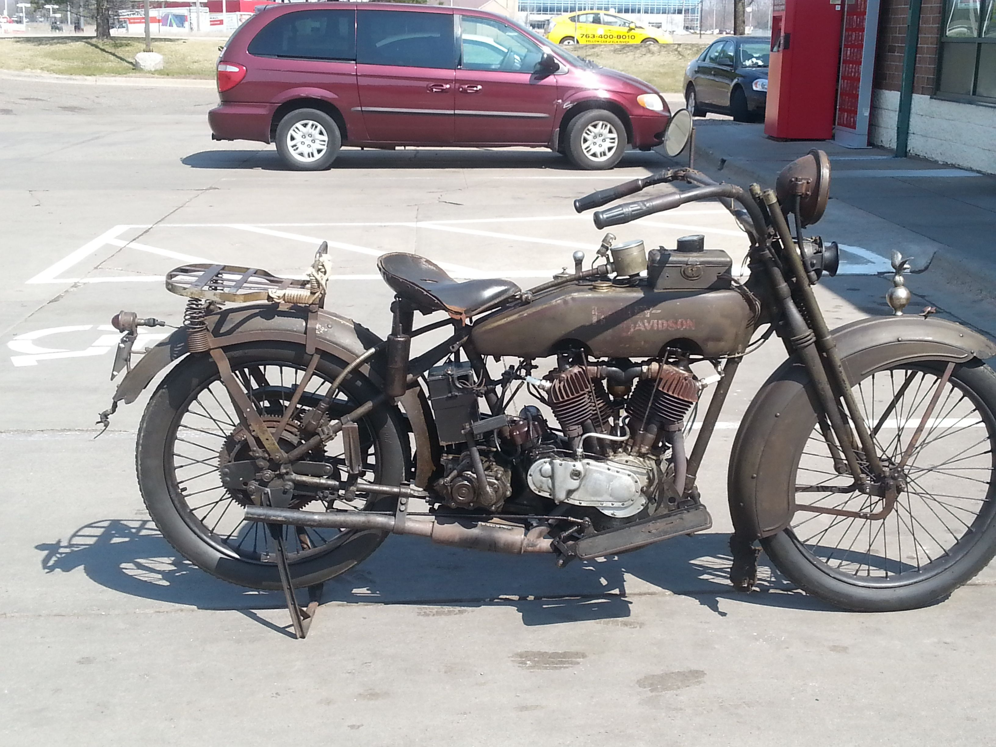 It must be spring in minnesota a 1922 harley davidson out in the wild