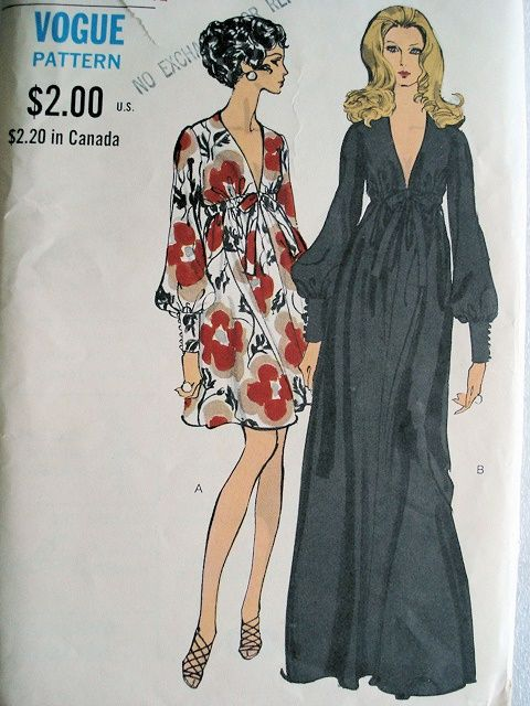 70s maxi dress- pattern courtesy of So Vintage Patterns. - Create ...