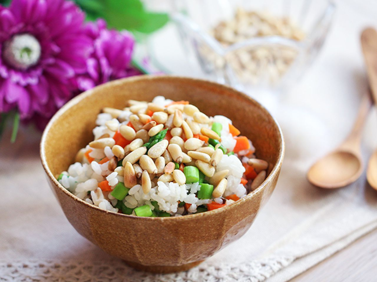 Mushroom pinenut rice