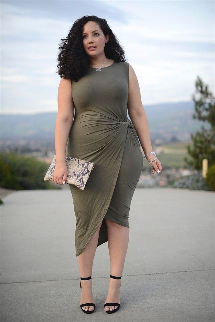 Olive Green Jersey Asymmetrical Ruched Plus Size Women Dress in 2019 ...