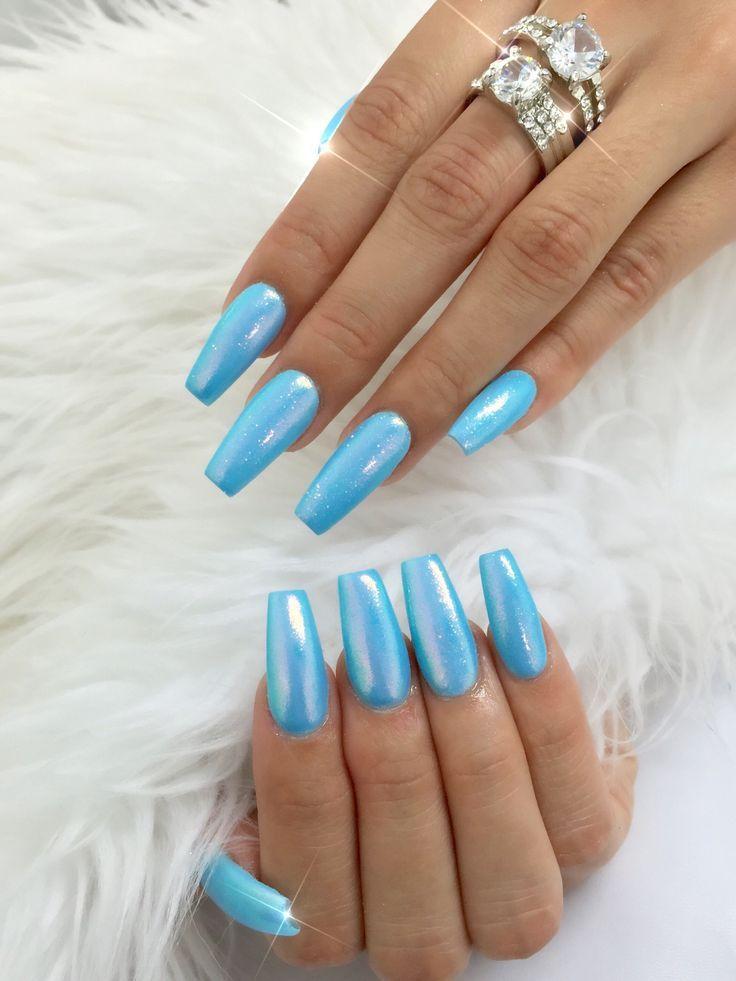 Powdered Sugar Collection Blue Acrylic Nails Blue Nails Chrome Nails