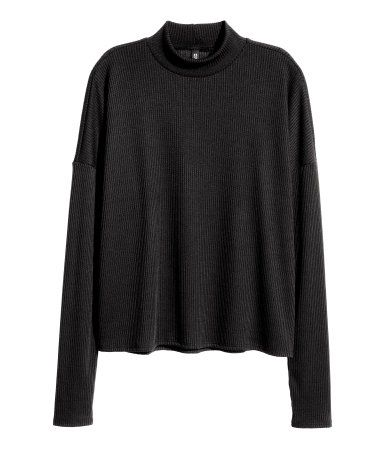 Black. Oversized mock-turtleneck sweater in a soft rib knit with ...