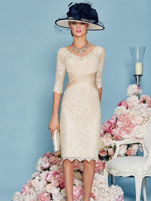 cb4455160d Sheath Column Lace Scoop 3 4 Sleeves Knee-Length Mother of the Bride Dresses  at HerDress Online