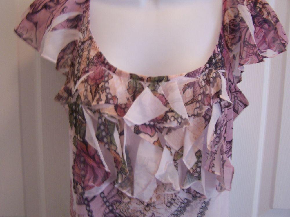 B.L.E.U. Women's Blouse M Short Sleeve Scoop Neck Floral Print NWOT