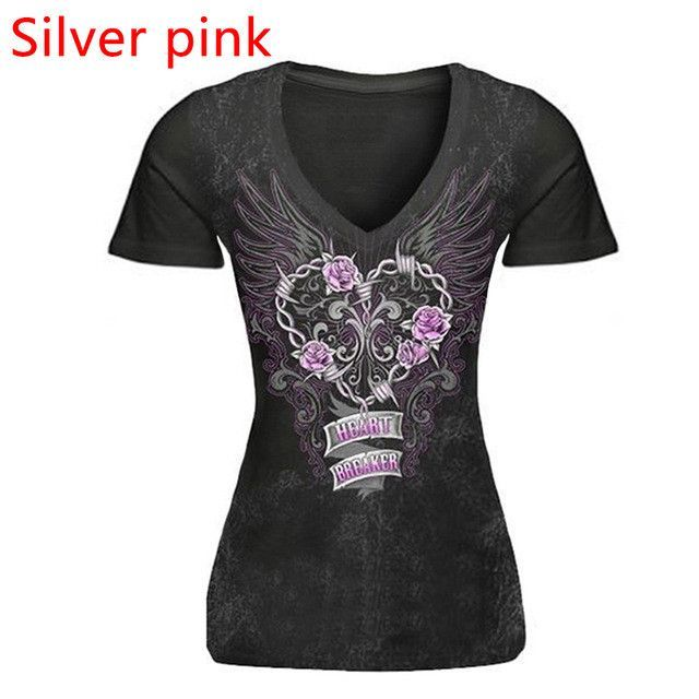 Plus Size Women T-Shirt Blusas Short Sleeve V neck Print Skull Red Lip Women Tops Bodycon Slim Fit Punk Style Tee Shirt LJ8593U