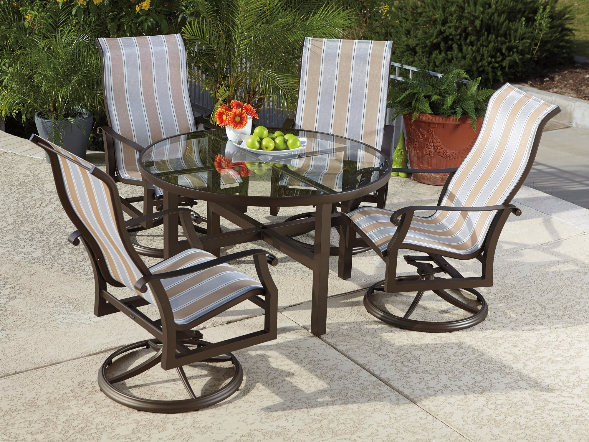 Woodard Cortland Sling Aluminum Dining Set | COURTDINSET11 ... on Living Accents Cortland Patio Set id=91455