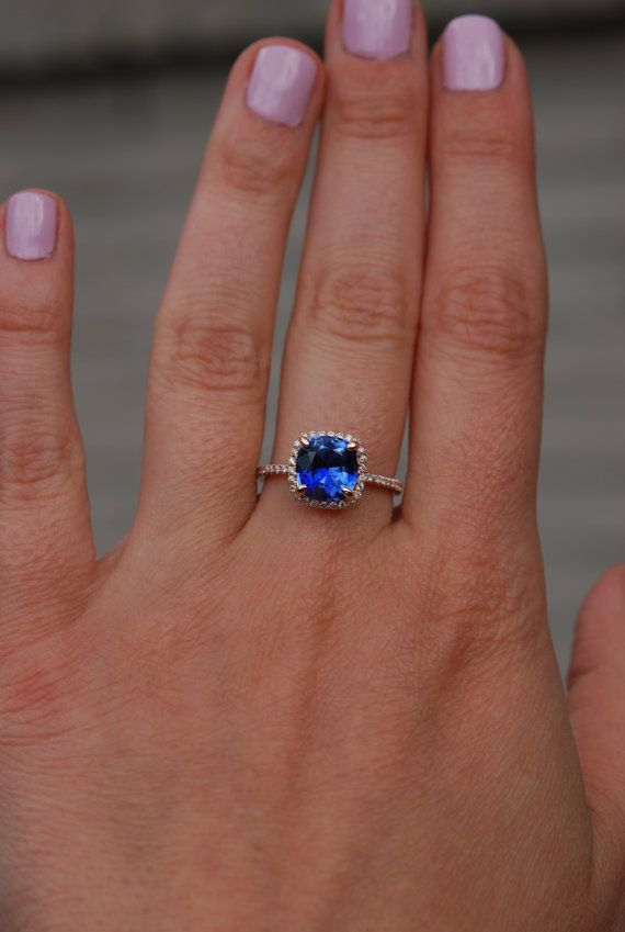 reserved Royal blue sapphire ring Square cushion diamond ring 14k
