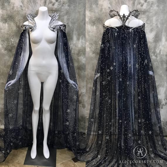 Fantasy Starry Collar Cloak ~ Wicca Cape Witch Outfit Celestial Bridal Elven Gothic Pagan Medieval Dress Cape ~ Venice Carnival Ball Costume 1