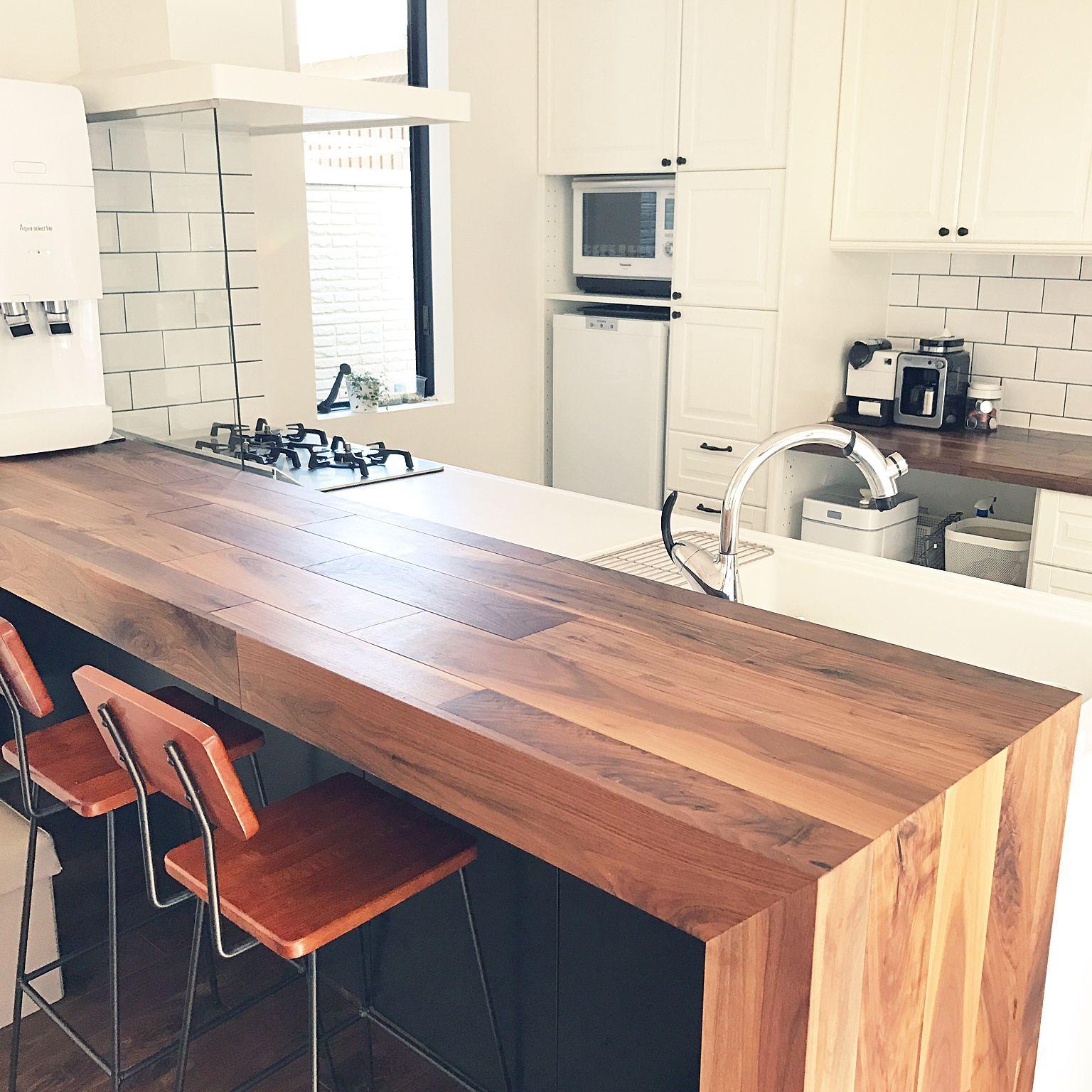 カウンターテーブル キッチン Ikeaキッチン サブウェイタイル キッチン