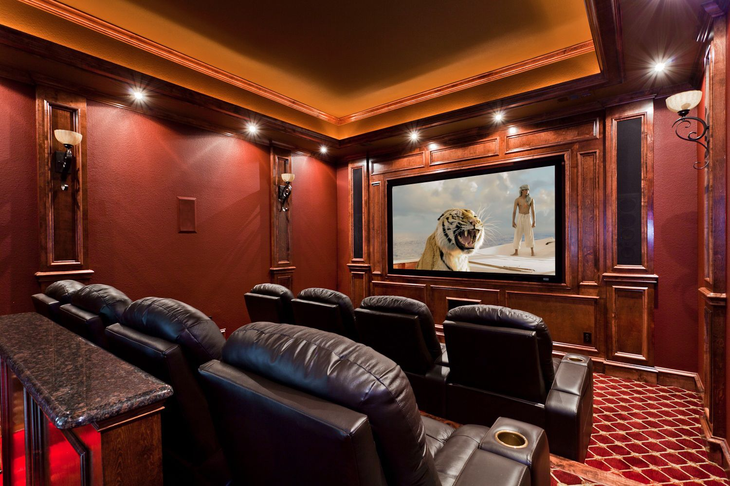 Beautiful traditional red home theater conversion by starlight beautiful traditional red home theater conversion by starlight home theater custom millwork columns sciox Images