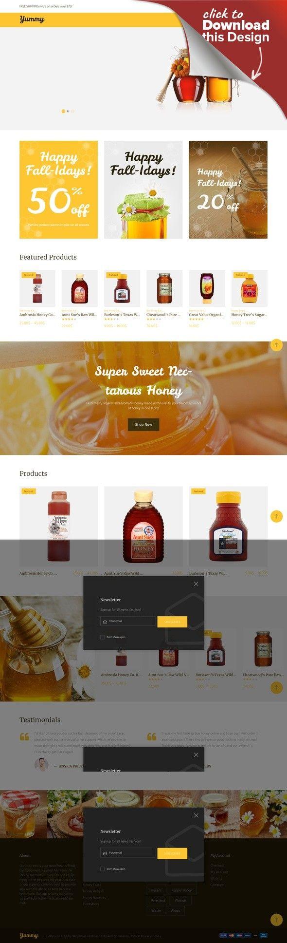 Yummy - WooCommerce Theme für Honigshop E-commerce Vorlagen ...