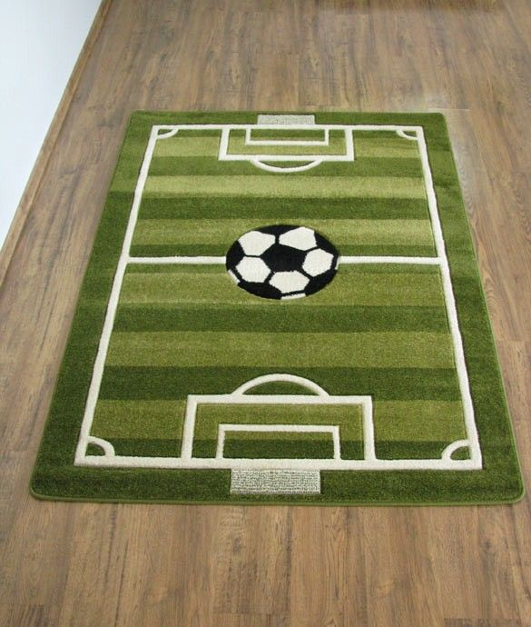 Play Rug Boys Football Pitch Childrens Rug Green: Voetbal Tapijt (Voetbalveld) 80x150cm