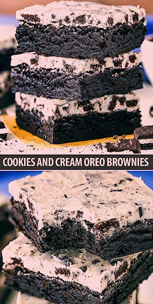 Photo of Fudgy Cookies and Cream Brownies Recipe – Easy Oreo Brownies!