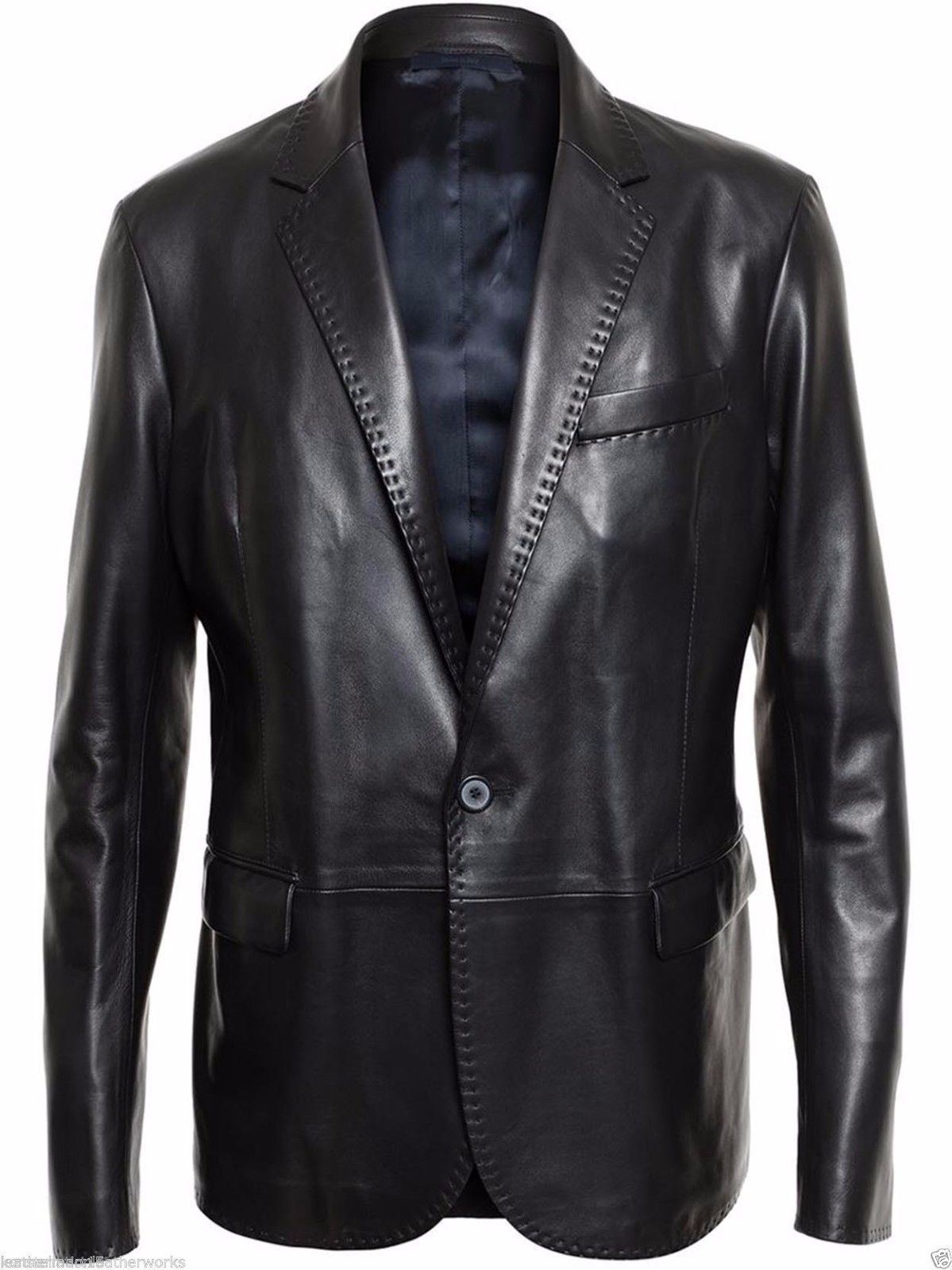 66a01f7ea829a Coats and Jackets 57988  Men S Genuine Soft Lambskin Slim Fit Black Leather  Blazer Jacket Coat -  BUY IT NOW ONLY   80.99 on eBay!
