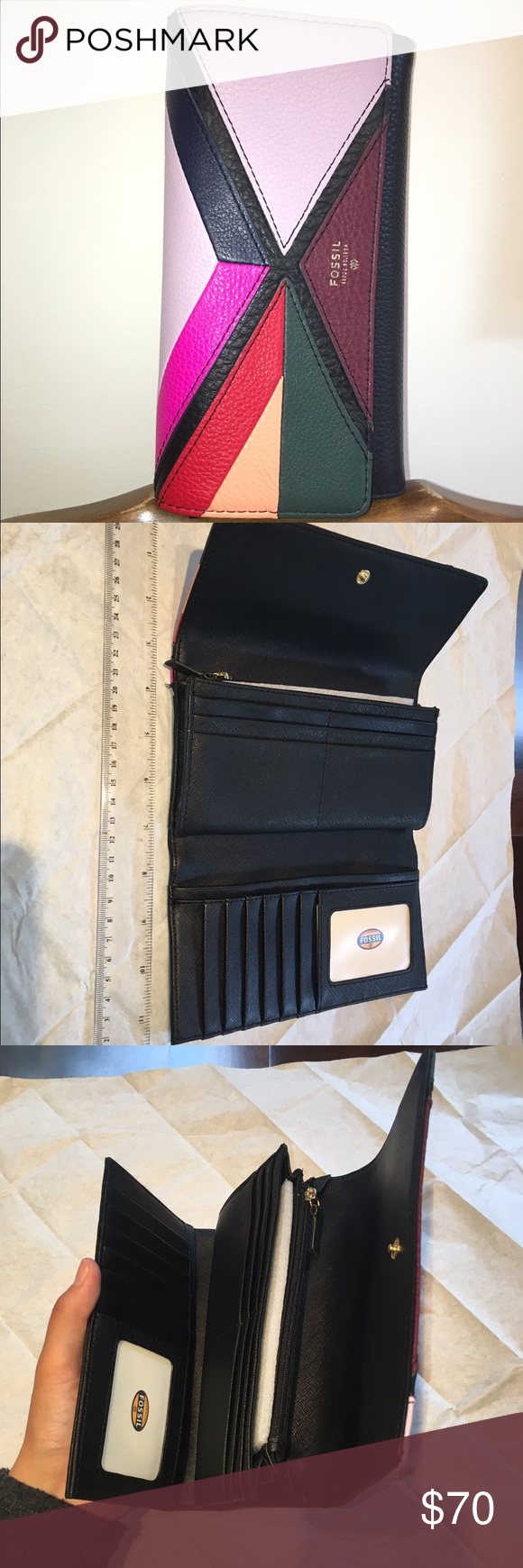 Fossil Long Wallet Fossil. Genuine Leather. Colorful patched design with black based leather, with brass colored hardware. 7.5in x 4in width of 1.5in. 19cm x 10.4cm width of 3.8cm. There is a zipper closure inside and outside. Very spacious amazing wallet, many pockets to fit things in. it's very unique design. NOT USED. I'm willing to meet at a medium, so please make offers. Fossil Bags Wallets
