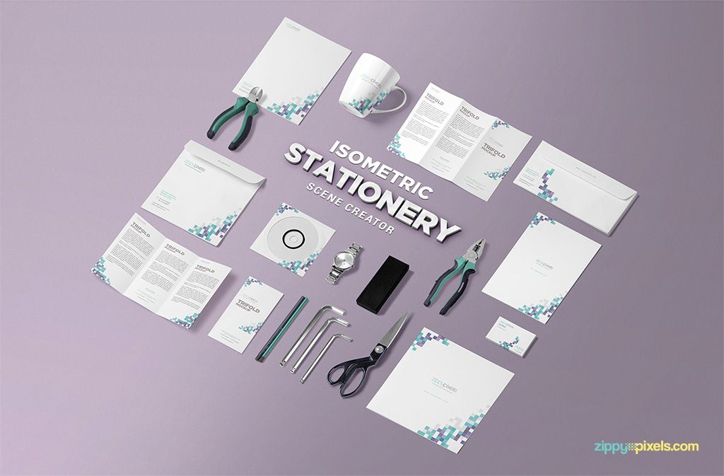 Free Isometric Stationery Scene Creator | Mockup, Brochures and ...