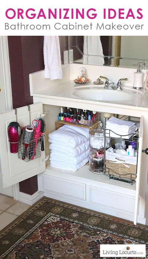 Great Organizing Ideas for your Bathroom! Cabinet Organization Makeover - Before and After photos. LivingLocurto.com #bathroom #organization #organizing