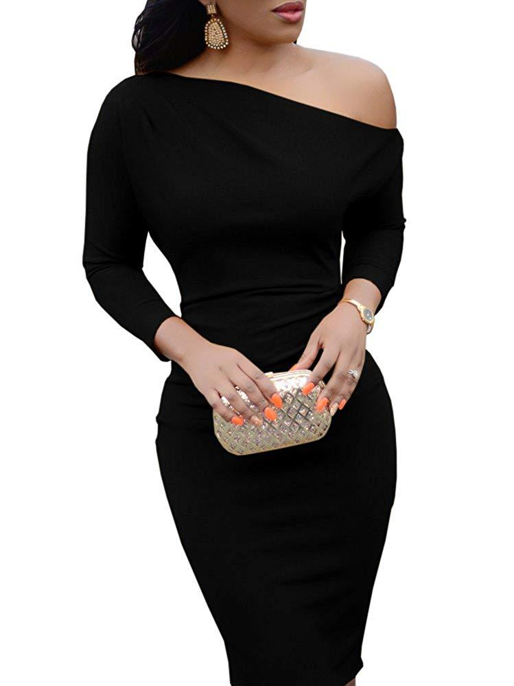 13be4d13a74a Jeanewpole1 Womens One Off Shoulder Midi Dress Long Sleeve Stretchy Sexy  Bodycon Party Pencil Dress