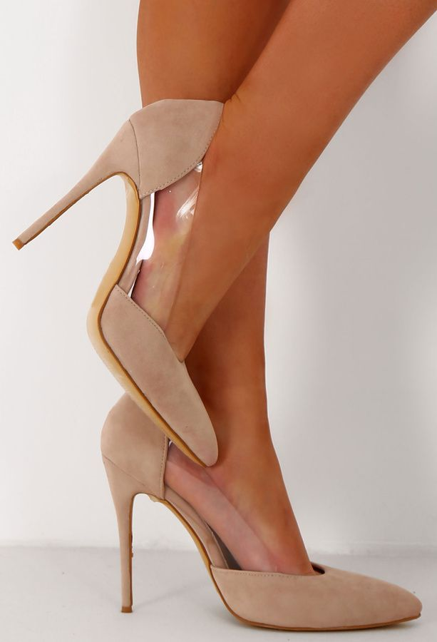 72eaeb613408 Pink Boutique Maliboo Nude Suede And Perspex Pointed Court Heels ...