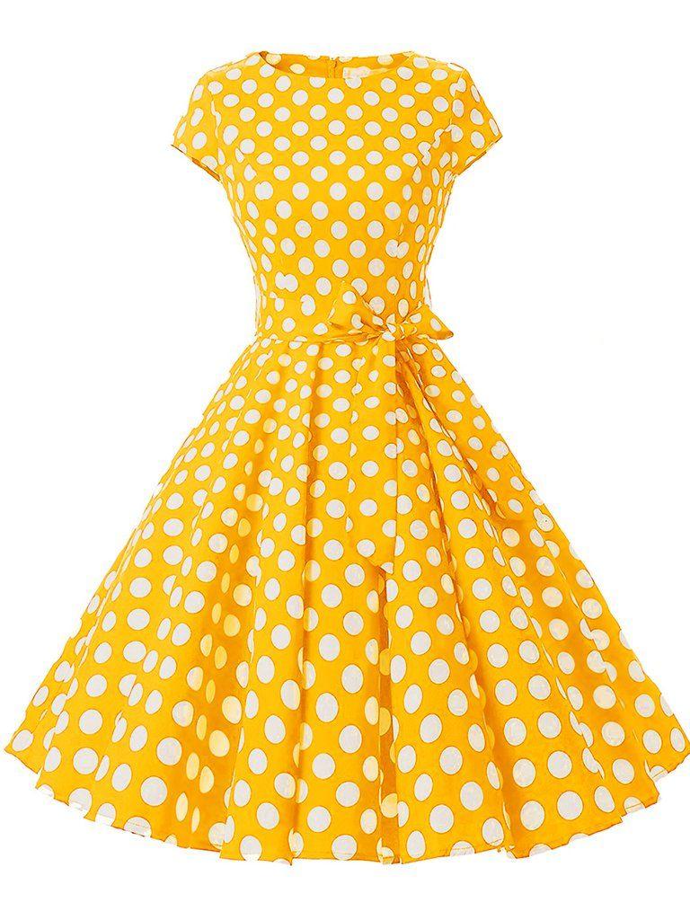 1950s Polka Dot Belted Swing Dress Rockabilly Prom Dress Yellow Swing Dress Cap Sleeve Prom Dress [ 1024 x 768 Pixel ]