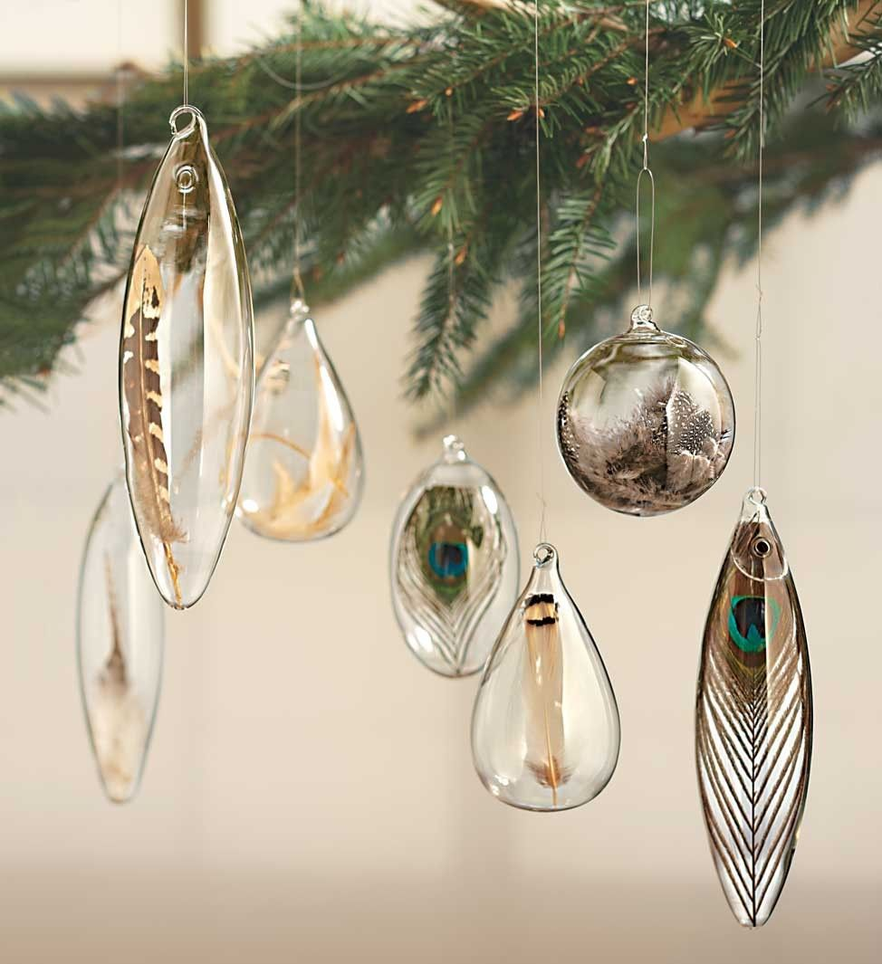 Roost Floating Decorative Natural Feather Ornaments | Feathers, Ornament  And Clear Glass Ornaments