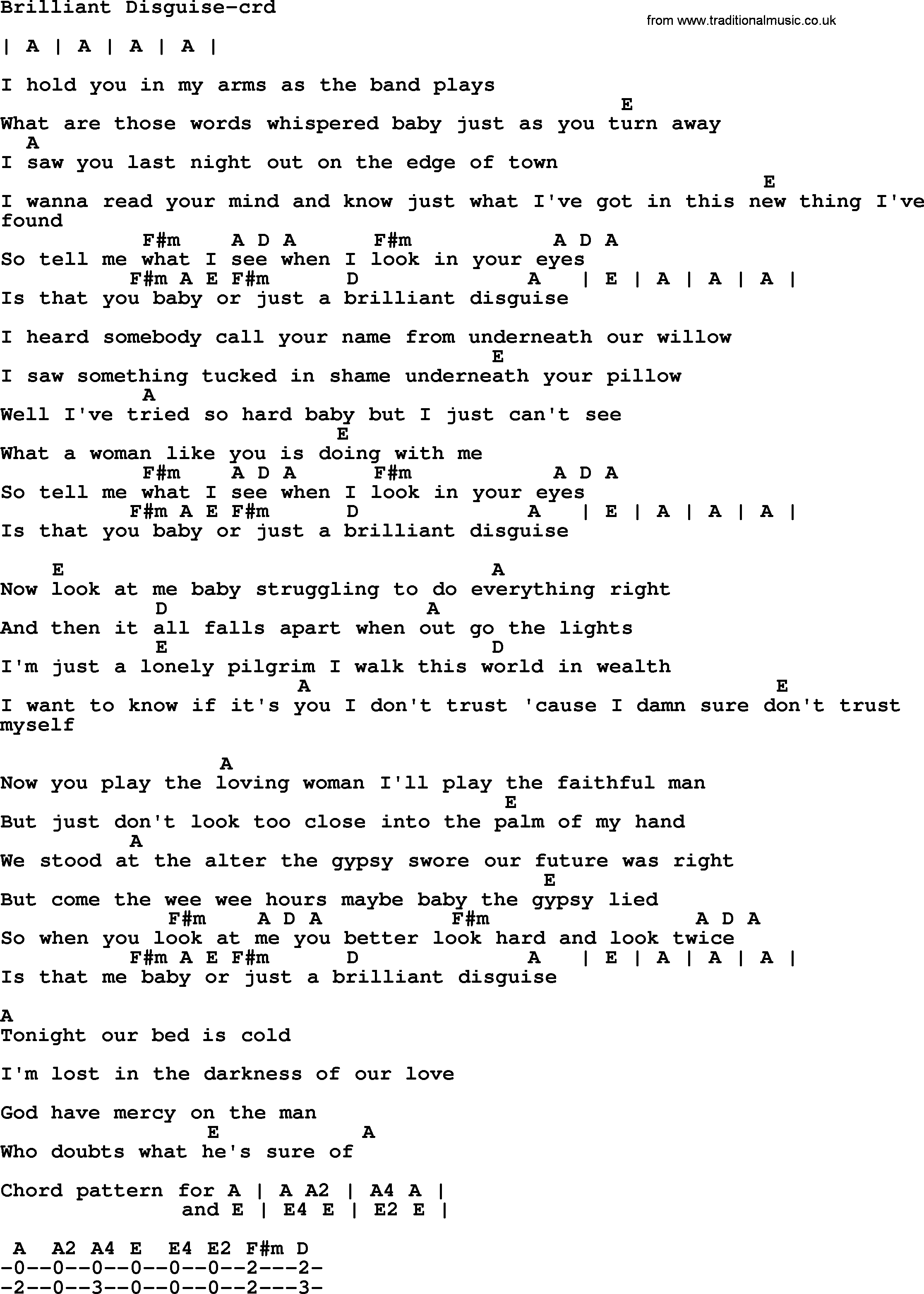 Bruce Springsteen Song Brilliant Disguise Lyrics And Chords Cool