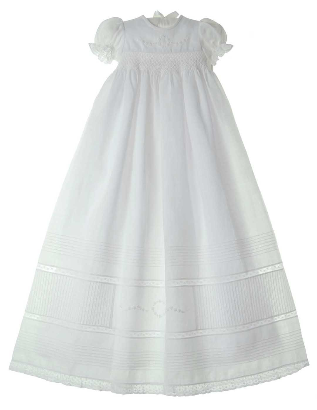 1db62e251 NEW Will'Beth White Linen Smocked Christening Gown with Pintucks,  Embroidery, and Seed Pearls $175.00