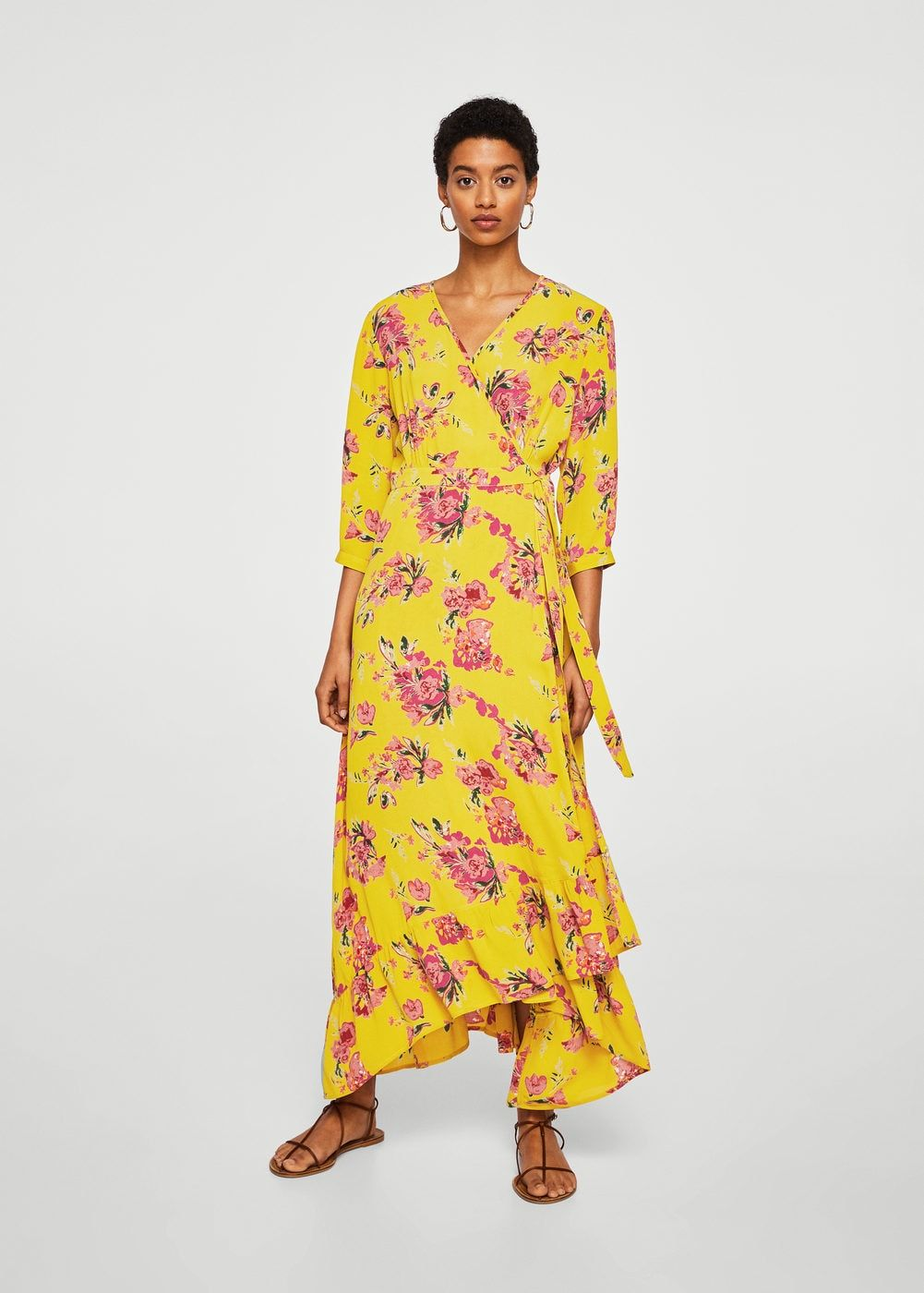 Vestidos largos flores mango