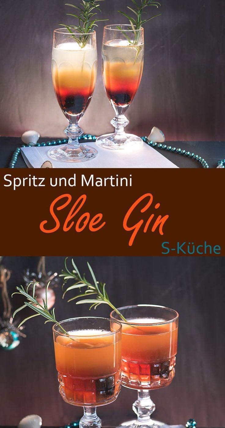 Sloe Gin Cocktails - Sloe Gin Spritz und Sloe Gin Martini