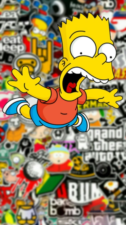 Download Bart Simpson Supreme Iphone Wallpaper Bart Simpson Wallpaper Hd For Desktop Or Mobile D In 2021 Simpson Wallpaper Iphone Sticker Bomb Wallpaper Simpsons Art