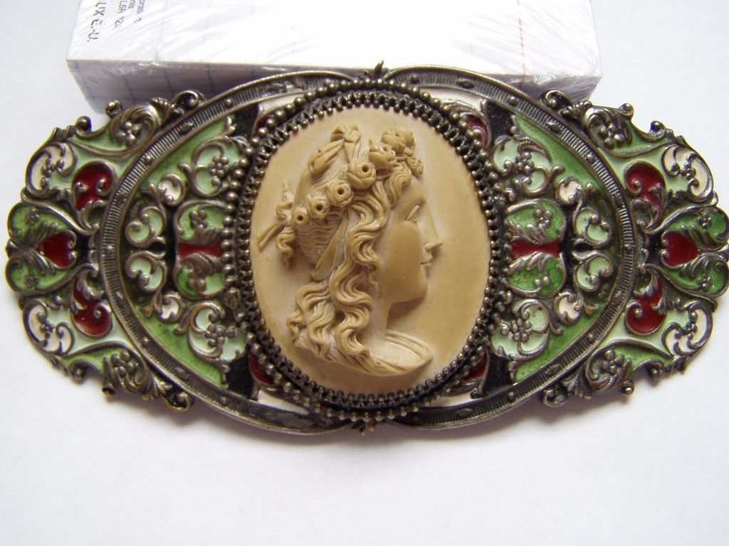 Gorgeous Antique Victorian Lava Cameo and Enamel Belt Buckle from ...