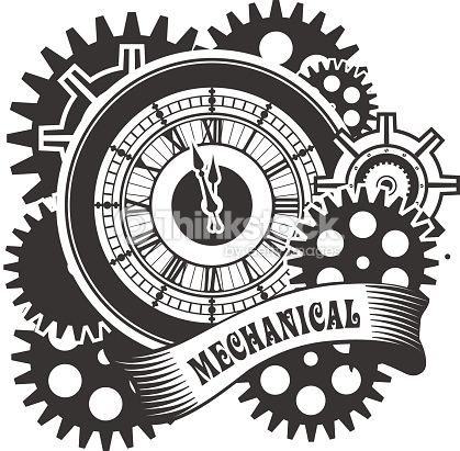 Vector Steampunk mechanical clock and rotating parts in a rectangular shape badge