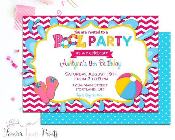 Pool Party Invitation  Summer Party Invitation  Swimming Party