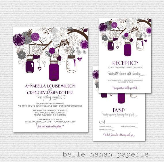 Printable Wedding Invitation Sets: Mason Jars Wedding Invitation Set