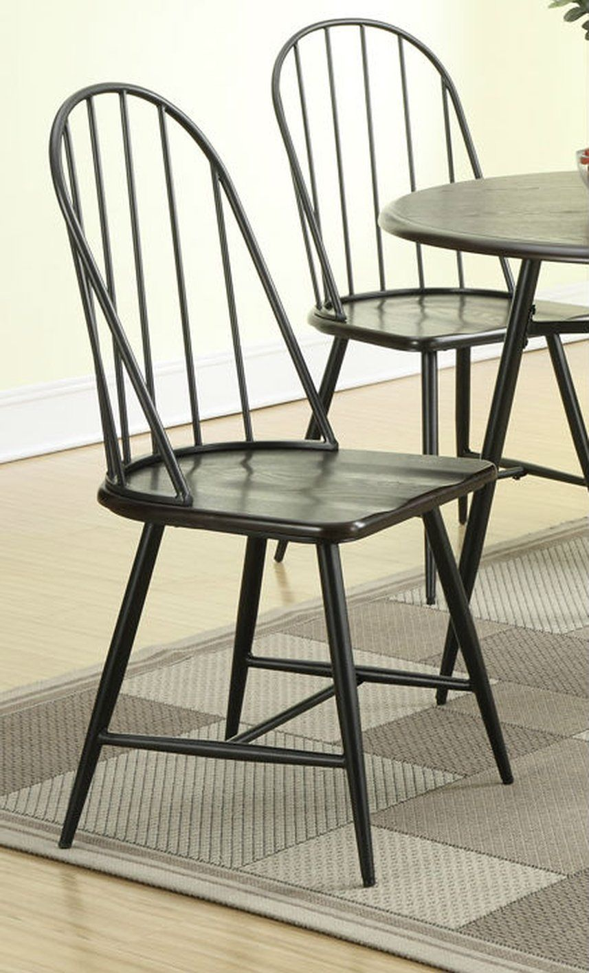 Poundex F1053 Black Metal Dining Chair - Steal-A-Sofa Furniture ...