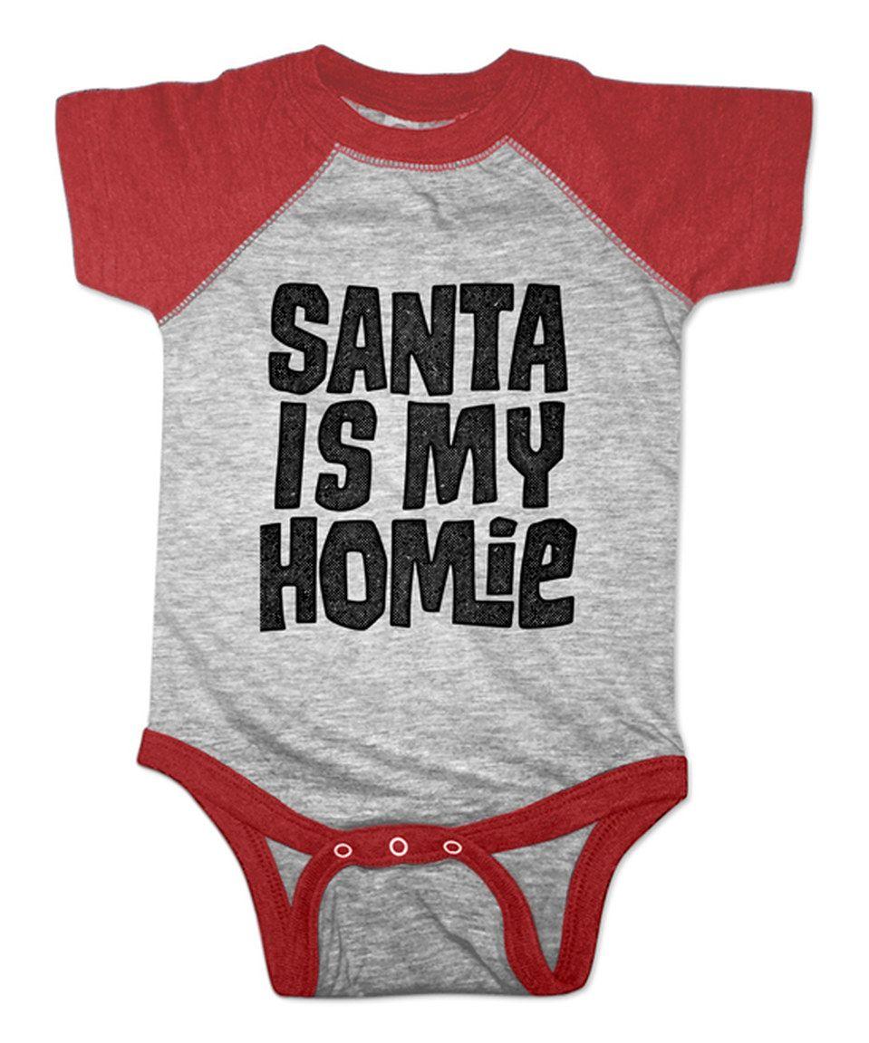 jiminy christmas Red Heather \'Santa Is My Homie\' Raglan Bodysuit ...
