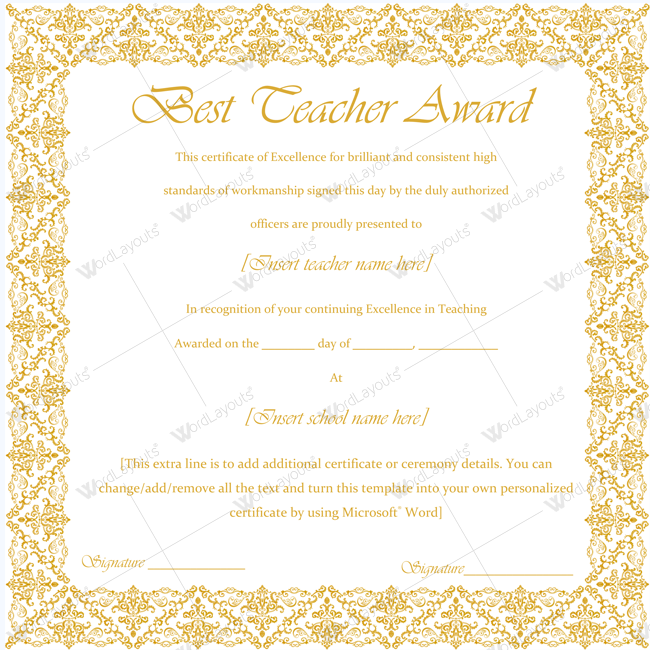 Best Teacher Award Certificate Template Word certificate – Word Certificate Templates