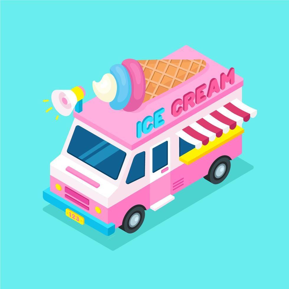 Isometric Food Truck Ice Cream Ice Cream Truck Isometric Design Ice Cream
