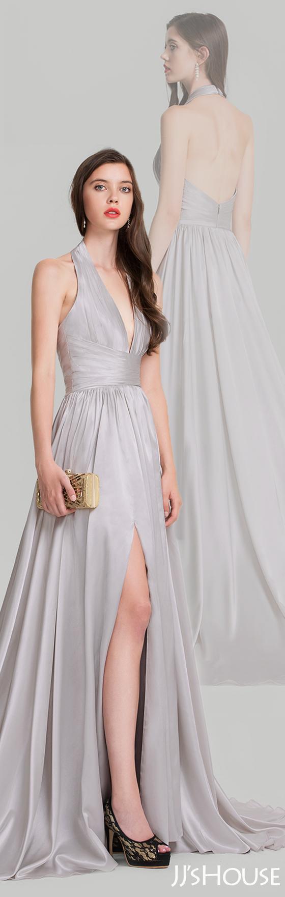 A-Line/Princess Halter Court Train Evening Dress With Ruffle ...