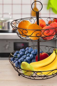 Sorbus Bronze 2-Tier Countertop Fruit Basket Holder & Decorative Bowl Stand