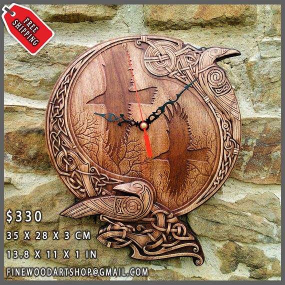 Wall Clock Odin Raven Pagan Symbol Viking Art Plaques Home Decor Norse Wood Picture S Custom Carving Heathen Celtic Rune Hanging Wax