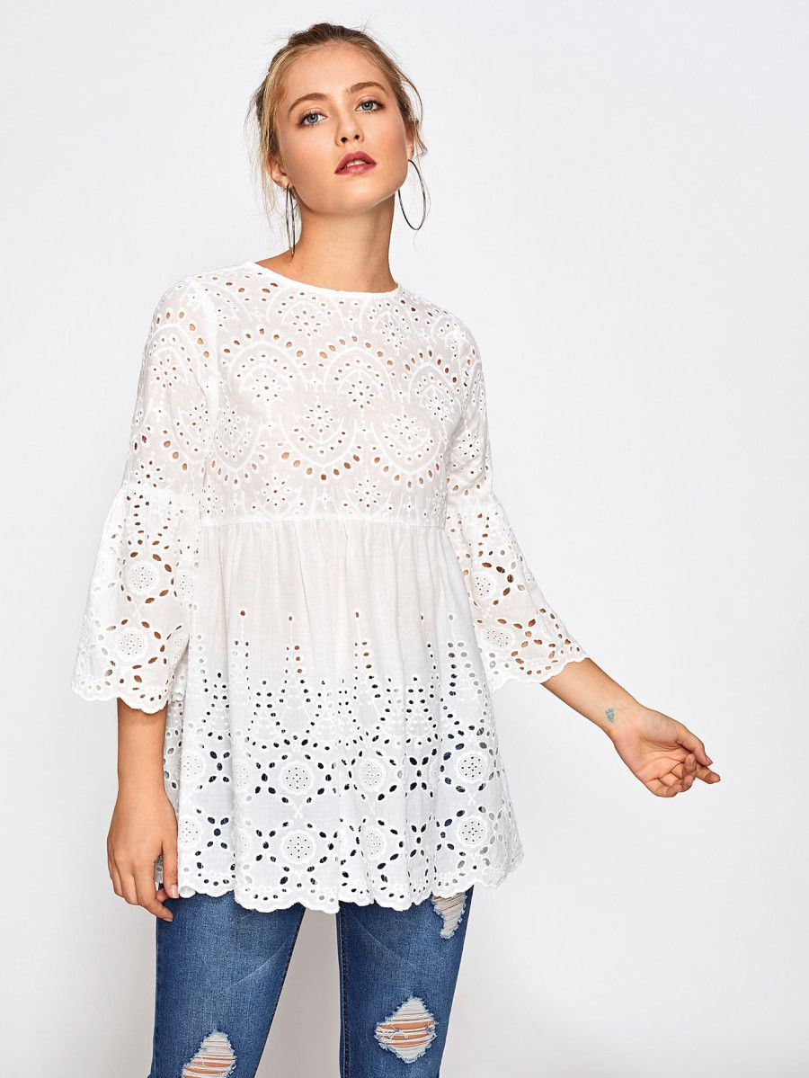 Eyelet Embroidered Scallop Trim Smock Blouse Shein Sheinside