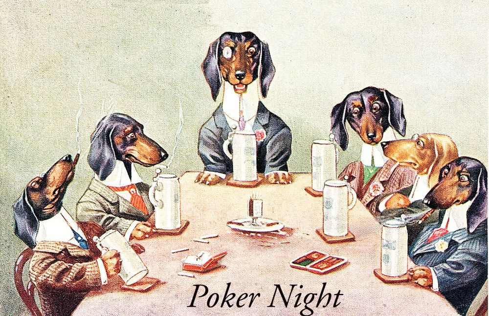 Dachshund Dogs Playing Poker On Poker Night Postcard Print