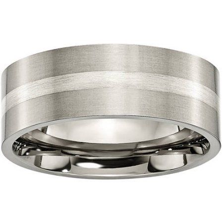 Box Titanium Grooved Sterling Silver Inlay 6mm Brushed Band